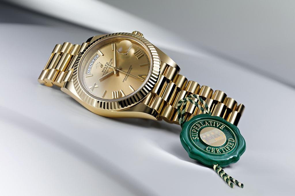 Rolex Day-Date 40 mit grünem Siegel