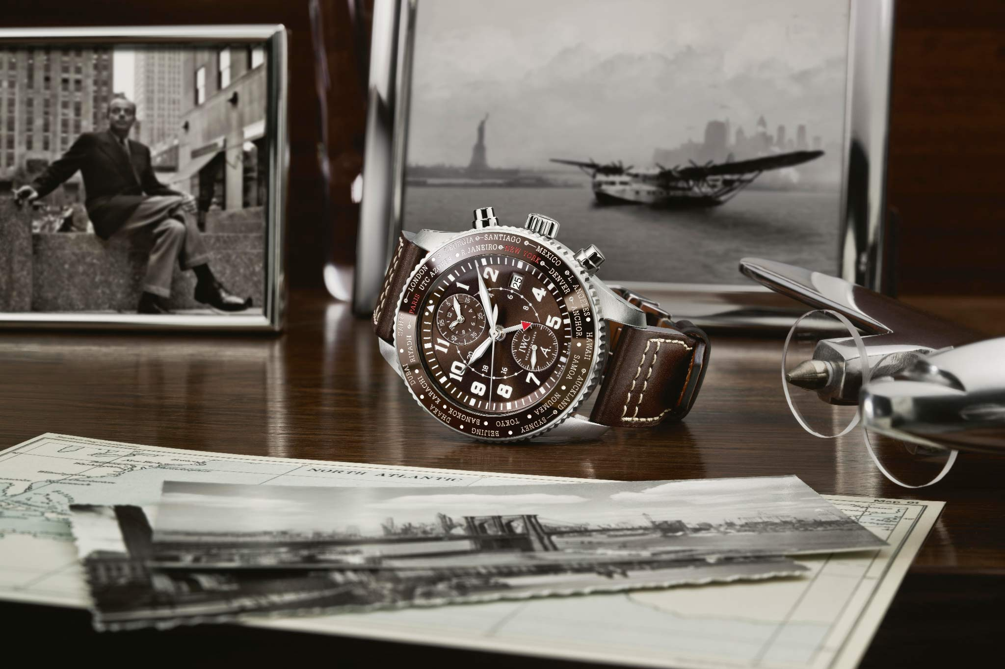 IWC Fliegeruhren GMT Pilot's Watch Timezoner Chronograph Edition 80 Years Flight to New York