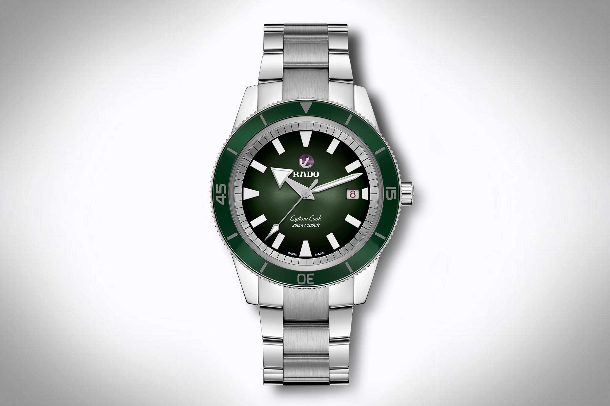 Uhren mit grünem Zifferblatt – Rado Captain Cook Automatic R3250531 in grün